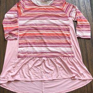 NWOT boutique Tunic peplum  striped top